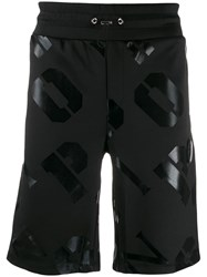 Plein Sport All Over Logo Track Shorts Black