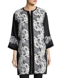 Andrew Gn Zip Front Crepe Lace Coat Black White