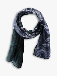 Betty Barclay And Co Leaf Print Scarf Blue Green