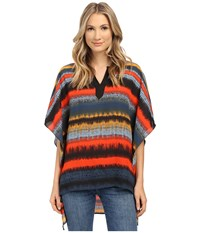 Kensie Noisy Stripes Poncho Top Ks1k4492 Slate Blue Combo Women's Clothing