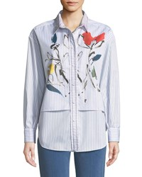 Piazza Sempione Long Sleeve Striped Cotton Shirt With Watercolor Floral Print White Black