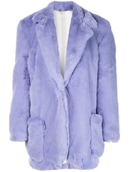 Natasha Zinko Classic Faux Fur Coat Purple