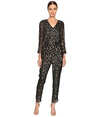Kate Spade Metallic Clipped Dot Jumpsuit Black Gold