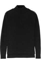 Thierry Mugler Embellished Wool And Cashmere Blend Sweater Black