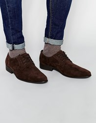 Asos Derby Shoes In Brown Faux Suede Brown