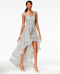 Say Yes To The Prom Juniors' High Low Flyaway Illusion Gown A Macy's Exclusive Silver