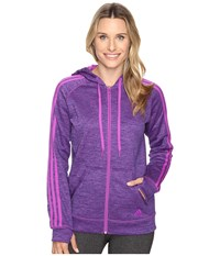 Adidas Team Issue Fleece 3 Stripes Full Zip Hoodie Shock Purple Heather Shock Purple Women's Sweatshirt