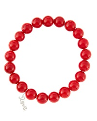 Sydney Evan 8Mm Red Coral Beaded Bracelet With 14K White Gold Diamond Small Love Charm Made To Order