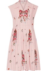 Miu Miu Embellished Cotton Jacquard Dress Pastel Pink