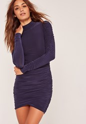 Missguided Slinky High Neck Ruched Mini Dress Blue Navy