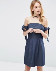 Asos Denim A Line Mini Dress With Tie Sleeves Blue