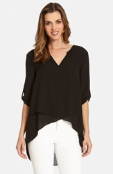 Karen Kane Asymmetrical Wrap Hem Top Black