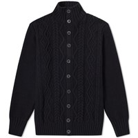 Inis Meain Button Front Aran Cardigan Black