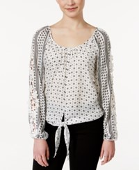 American Rag Printed Crochet Trim Tie Front Peasant Top Only At Macy's