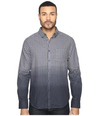 Kenneth Cole Long Sleeve Dip Dye Gingham Check Patriot Blue Combo Men's Clothing Gray