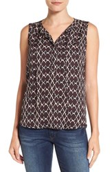 Gibson Women's Print Sleeveless Split Neck Blouse Black Red Aztec