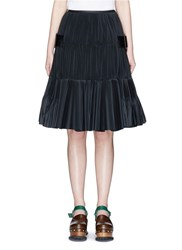 Toga Archives Belted Side Plisse Pleated Taffeta Skirt Black