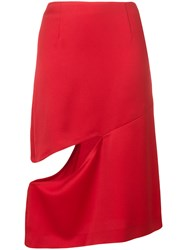 Maison Martin Margiela Cut Out Knee Length Skirt Red