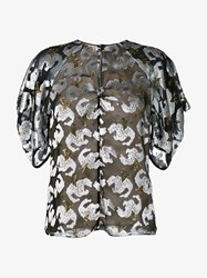 Erdem Metallic Embroidered Top With Keyhole Detailing Black Silver