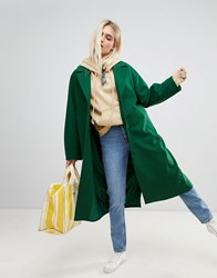 Weekday Wool Coat In Bottle Green Bottle Green