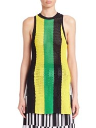 Proenza Schouler Striped Knit Tank Top Kelly Green Yellow