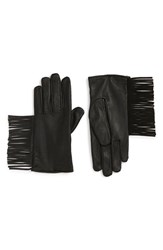 Maison Scotch Women's Fringe Thinsulate Insulated Leather Gloves