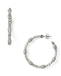 Officina Bernardi Moon Oval Bead Medium Hoop Earrings Silver