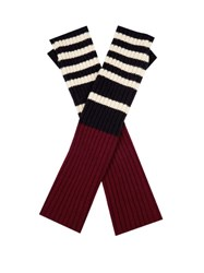 Marni Striped Ribbed Knit Fingerless Gloves Burgundy Multi