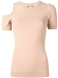 N 21 No21 Cold Shoulder Knit Top Neutrals