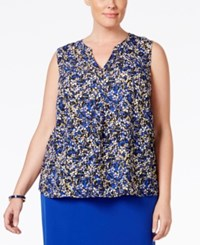 Nine West Plus Size Printed V Neck Top Royal Multi