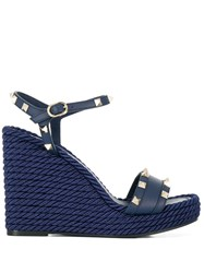 Valentino Garavani Rockstud Wedge Sandals Blue