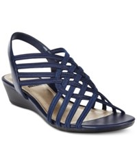 Impo Refresh Stretch Wedge Sandals Navy