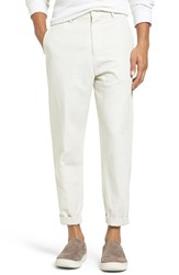 Vince Men's Relaxed Leg Cropped Cotton And Linen Pants Stone