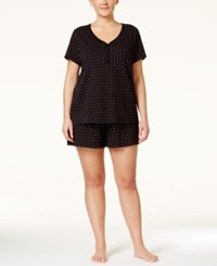 Charter Club Plus Size Dotted Pajama Set Only At Macy's Black Duo Dot