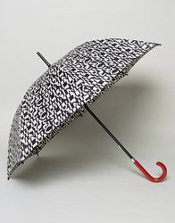 Lulu Guinness Kensington Walking Umbrella In Cut Up Logo Print Cut Up Logo Black