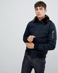 Schott Air Bomber Jacket With Detachable Faux Fur Collar In Slim Fit In Navy Brown