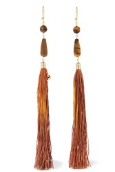 Rosantica Rum Tasseled Beaded Gold Tone Earrings Brown