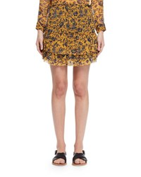 Etoile Isabel Marant Brinley Tiered Floral Silk Skirt Yellow
