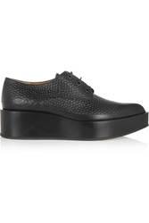 Jil Sander Textured Leather Wedge Loafers Black