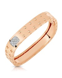 Roberto Coin Polished And Pave 18K Rose Gold Domed 2 Row Bangle