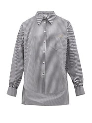 Hillier Bartley Logo Embroidered Striped Cotton Poplin Shirt Black White