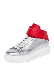 Alexander Mcqueen Ankle Strap Calfskin Leather Mid Top Sneakers Black Silver Coccinelle