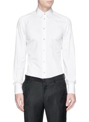 Dolce And Gabbana 'Gold' Crown Embroidery Cotton Silk Shirt White