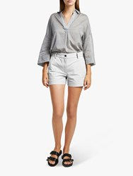 French Connection Ismena High Waisted Shorts Linen White