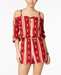 American Rag Striped Off The Shoulder Romper Only At Macy's Biking Red Combo