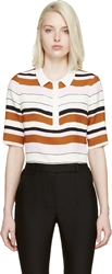 Giambattista Valli Ivory Striped Cropped Cady Polo