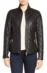 Badgley Mischka Women's 'Eloise' Quilted Leather Moto Jacket Black