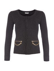 Relish Cardigan With Chain Detailing Grey
