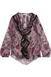 Chloe Ruffled Printed Silk Crepon Blouse Antique Rose