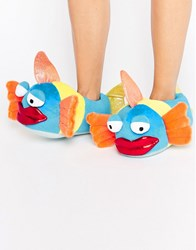 Asos Neptune Tropical Kissy Fish Slippers Multi